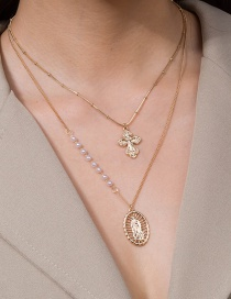 Fashion Golden Metal Texture Cross Pearl Hollow Multilayer Necklace