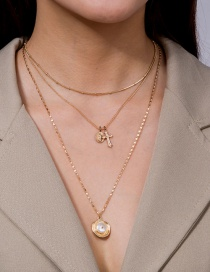 Fashion Golden Jesus Cross Natural Freshwater Pearl Multilayer Necklace
