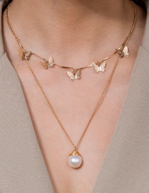 Fashion Golden Natural Freshwater Pearl Butterfly Butterfly Necklace
