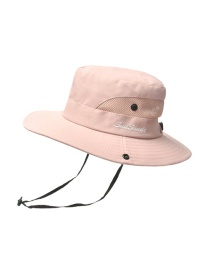 Fashion Solid Color Children-pink Horsetail Hole Embroidery Shrink Buckle Children Fisherman Hat