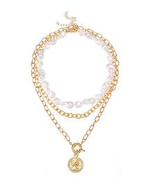 Fashion Golden Alloy Pearl Portrait Multi-layer Necklace