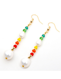 Fashion Color Mixing Natural Freshwater Pearl Crystal Alloy Earrings