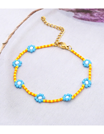 Fashion Yellow + Blue Imported Rice Beads Hand-woven Flower Bracelet
