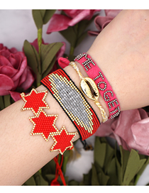 Fashion Suit Red Rice Beads Hand-woven Tassel Six-pointed Star Shell Bracelet