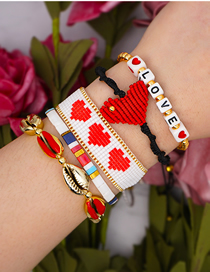 Fashion Suit White Rice Beads Hand-woven Love Shell Bracelet