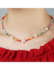 Fashion Color Mixing Rice Pearl Woven Crystal Natural Freshwater Pearl Necklace
