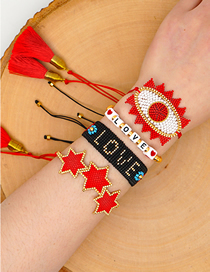 Fashion Suit Red Color-preserving Gold Beads And Rice Beads Hand-woven Love Six-pointed Star Tassel Bracelet
