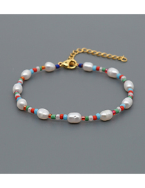 Fashion Color Mixing Natural Freshwater Pearl Color Retaining Rice Bead Bracelet