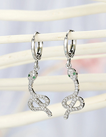 Fashion Silver White Snake Micro-set Zircon Alloy Snake Earrings