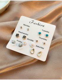 Fashion Color Mixing Flower Diamond Crystal Earring Set