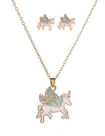Fashion Blue Metal Dripping Pegasus Hit Color Necklace Earring Set