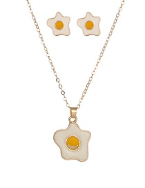 Fashion White Dripping Oil Poached Egg Alloy Earring Necklace Set