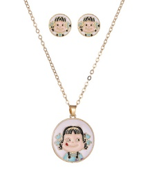 Fashion Blue Dripping Little Girl Alloy Earrings Necklace Set