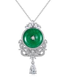 Fashion Platinum Green Chalcedony Copper Inlaid Zircon Geometric Necklace