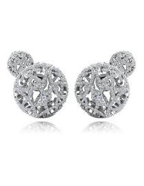 Fashion Platinum Hollow Copper Studded Zircon Stud Earrings