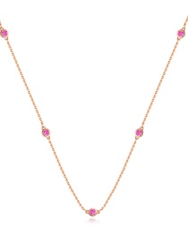 Fashion Red Copper-set Zircon Geometric Necklace