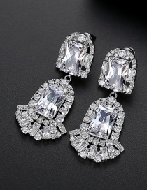 Fashion White Copper-inlaid Zircon Crystal Square Earrings