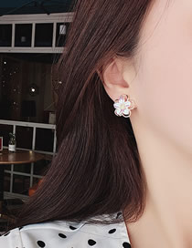 Fashion Pink Double Shell Flower Three-dimensional Hollow Alloy Earrings