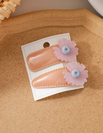 Fashion Pink Flower Patent Leather Resin Flower Contrast Color Hairpin Two-piece Set