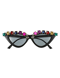 Fashion Color Resin Alloy Square Diamond Geometry Sunglasses
