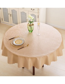 Fashion Phoenix Champagne Gold Pu Waterproof And Oil Proof Round Lace Table Cloth