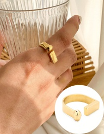 Fashion Golden Gold-plated Copper T-shaped Open Ring