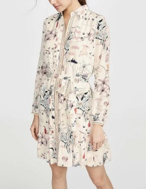 Fashion Color Long Sleeve Shirt Dress With Printed Lapel Belt