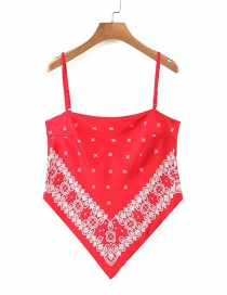 Fashion Red Geometric Bow Sling With Printed Bow