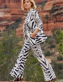 Fashion White Printed Hollow High-waist Flared Trousers