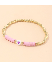 Fashion Purple Soft Clay Love Bead Alloy Bracelet