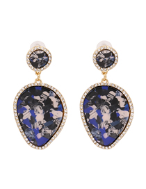 Fashion Blue Leaf-shaped Granite Grain Earrings