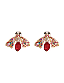 Fashion Red Moth Diamond Earrings