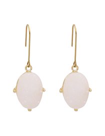 Fashion White Alloy Resin Crystal Tooth Oval Earrings