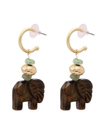 Fashion Brown Elephant Shaped Wood Alloy Geometric Earrings