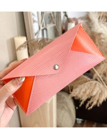 Fashion Light Pink Leather Snap Button Stitching Contrast Glasses Case