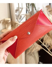 Fashion Brick Red Leather Snap Button Stitching Contrast Glasses Case
