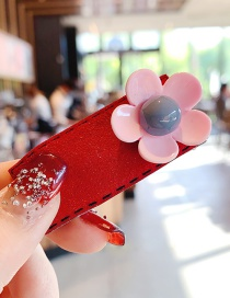 Fashion Red Resin Flower Suede Geometric Children Hairpin