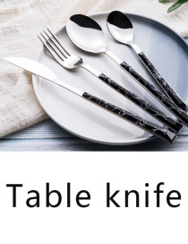 Fashion Black Marbled Table Knife Grain Stainless Steel Imitation Marble Grain Knife And Fork Spoon