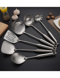 Fashion Suit Silver Hollow Handle Frying Spatula Colander Sanded Stainless Steel Kitchenware