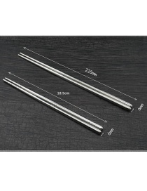 Fashion Long Silver Square Cloth Round Stainless Steel Chopsticks Tableware