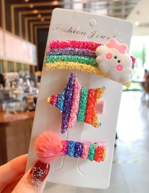 Fashion Clouds + Stars + Hair Ball Hairpin Sequined Animal Fruit Resin Alloy Geometric Hairpin Set