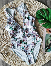 Fashion Printing On White Triangle One-piece Swimsuit With Lace Deep V Halter Print