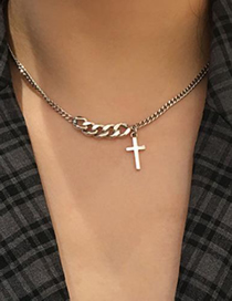 Fashion Golden Cross Stitching Thick Chain Alloy Necklace