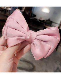 Fashion Pink Hairpin Large Bow Double Layer Alloy Fabric Hairpin Hair Rope
