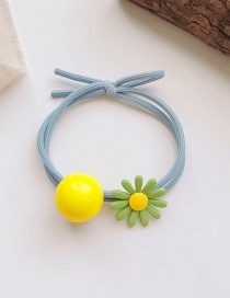 Fashion Blue Rope Daisy Ball Hitting Color Knotted High Elastic Hair Rope
