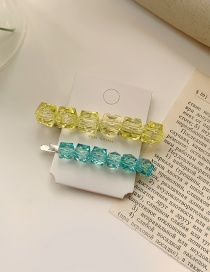 Fashion Yellow And Blue Clip Braided Crystal Alloy Hairpin