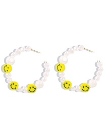 Fashion Pearl Smiley Resin Pearl Smiley Face C Earrings