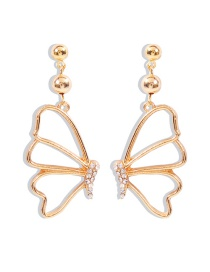 Fashion White Diamond Diamond And Pearl Butterfly Hollow Earrings