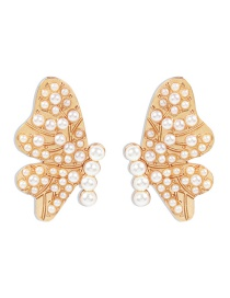 Fashion Pearl Diamond Pearl Alloy Butterfly Earrings