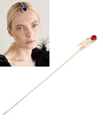 Fashion Wine Red Hairpin With Diamond Alloy Chain